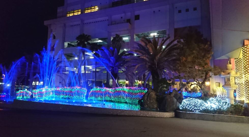 LEDイルミネーション施工例 勝浦ホテルの外観