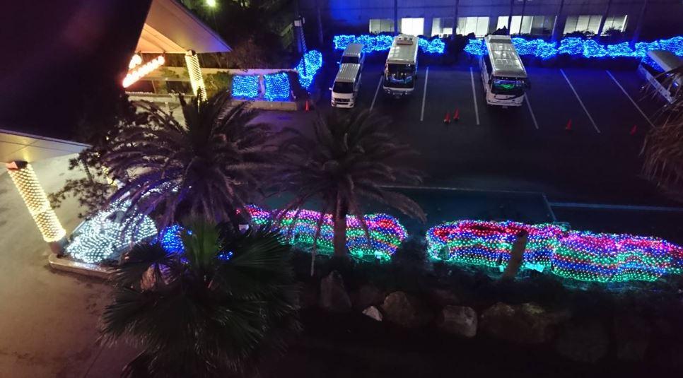 LEDイルミネーション施工例 勝浦ホテルの駐車場