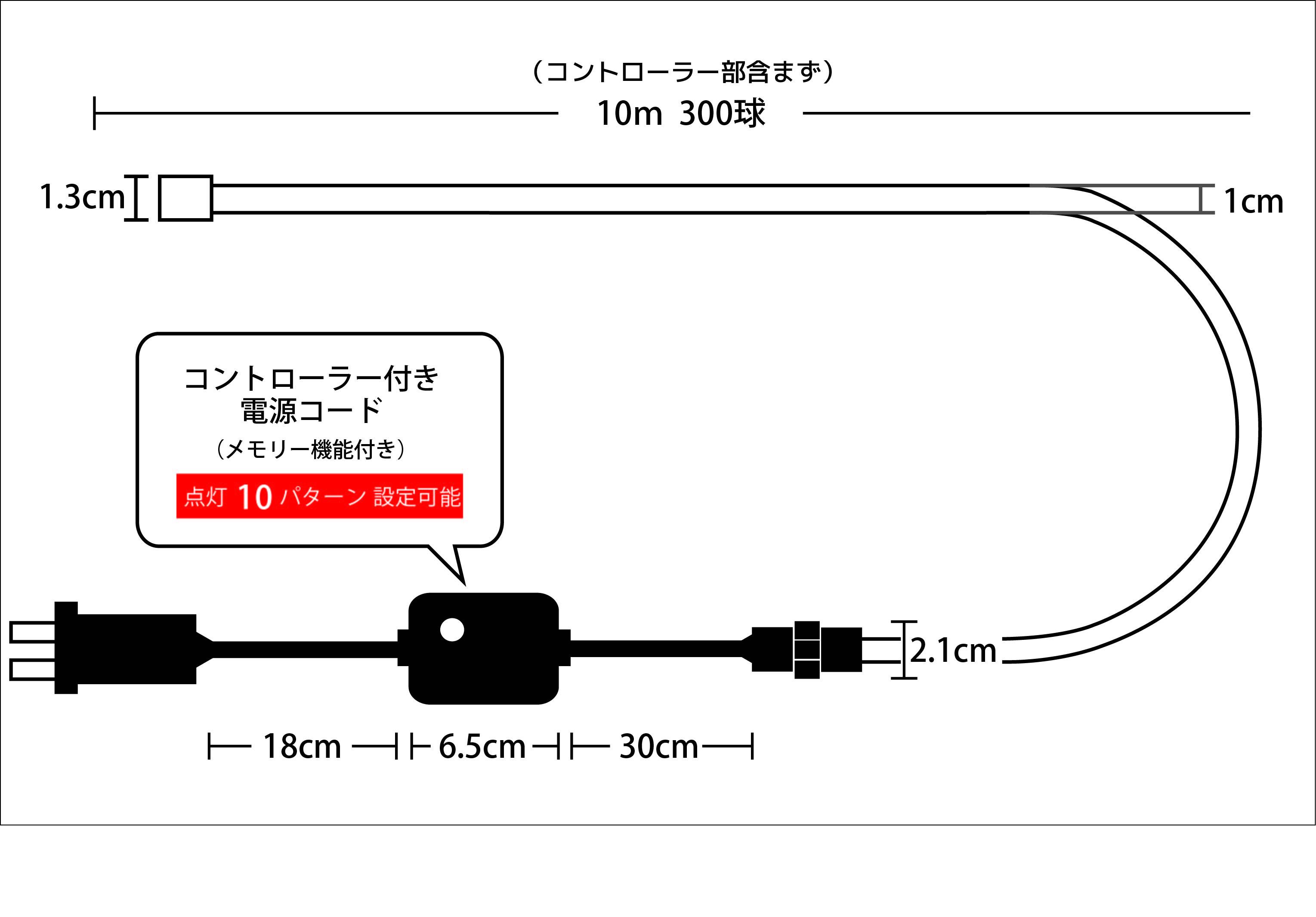 イルミネーションナ光が流れるチューブライト 10M ミックス 設計図